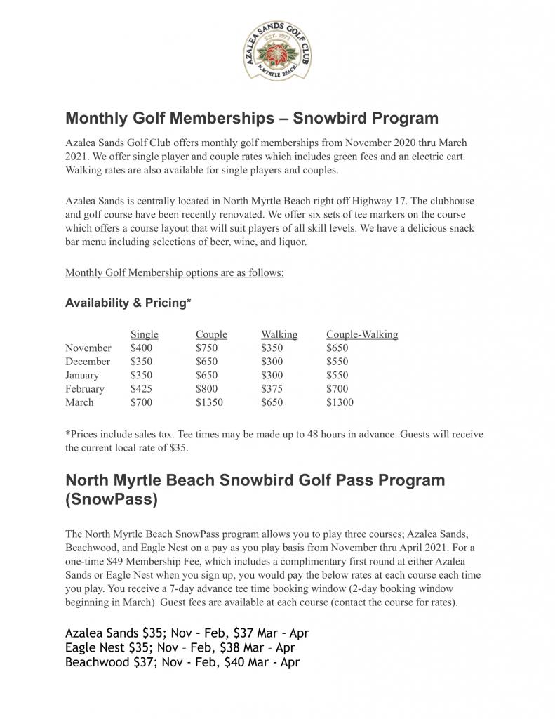 Monthly Golf Membership Program - Snowbirds Azalea Sands-1